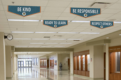 School banners with positive messages in hallway, custom banners for character values
