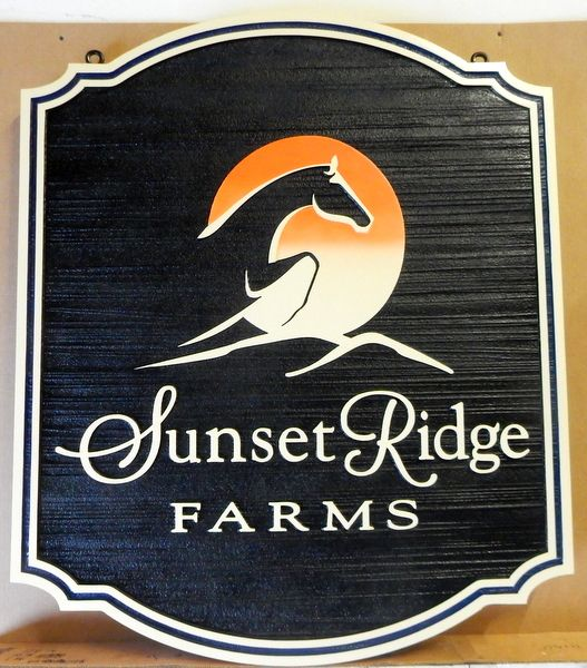 """P25104 - Elegant Carved and Sandblasted HDU Entrance Sign for """"Sunset Ridge Farm"""", with Stylized Horse Jumping"""