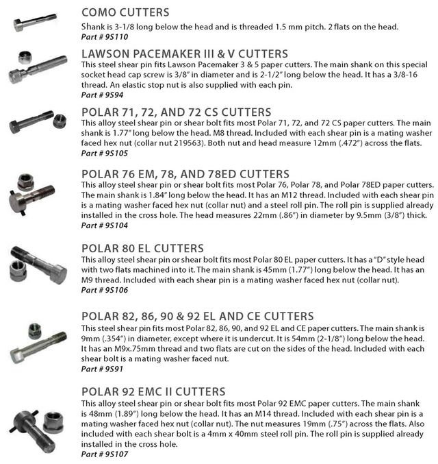 Como, Lawson, Polar 71, Polar 76, Polar 78, Polar 80, Polar 82, Polar 92 Shear pins and shear bolts