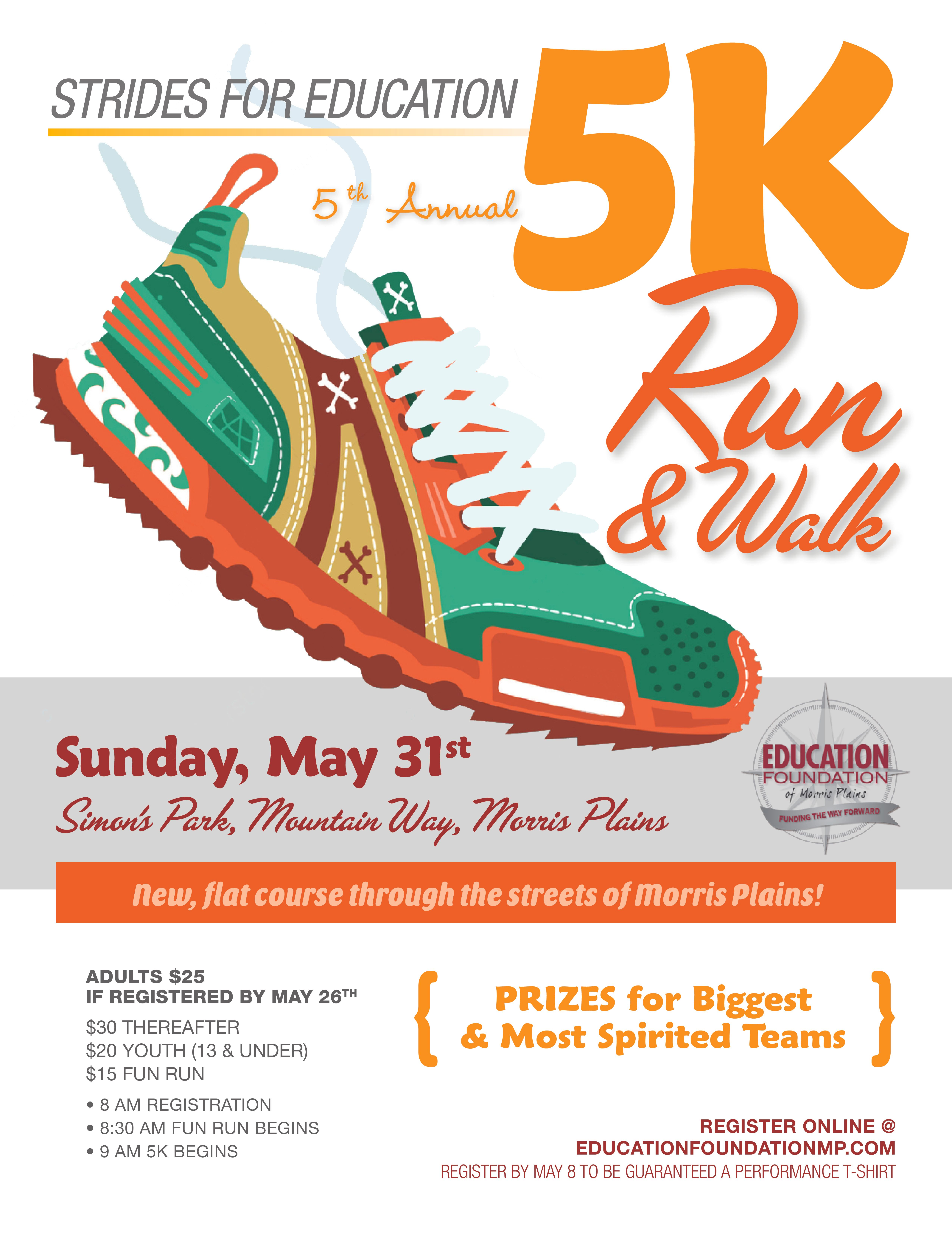 5th Annual Strides for Education 5K Run/Walk Now Available