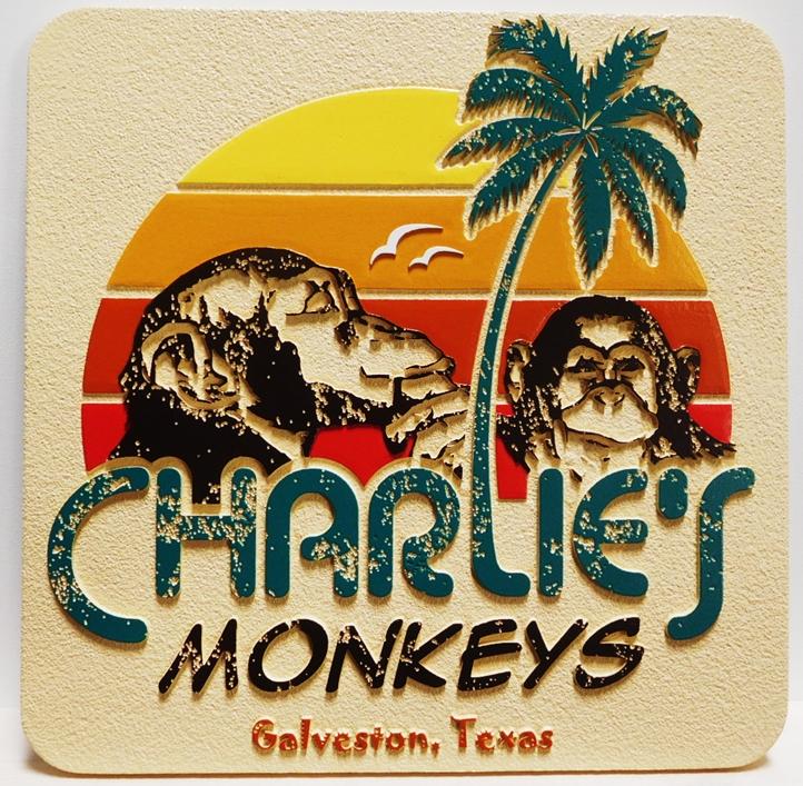"L21061 - ""Charlies Monkeys"" with Palm Tree on Beach"