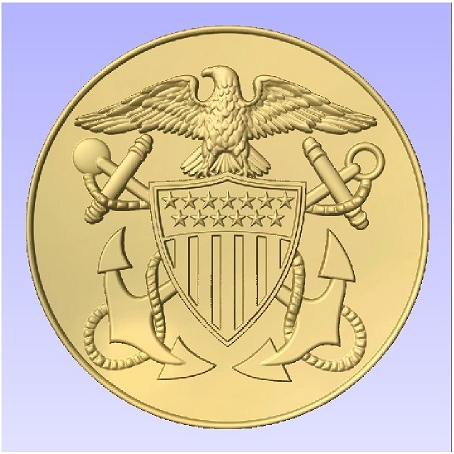 JP-1190 -  Carved Plaque of the Great Seal  of the US Navy, Painted Metallic Gold