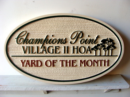 KA20906 - Sandblasted Yard of the Month Sign with Trees