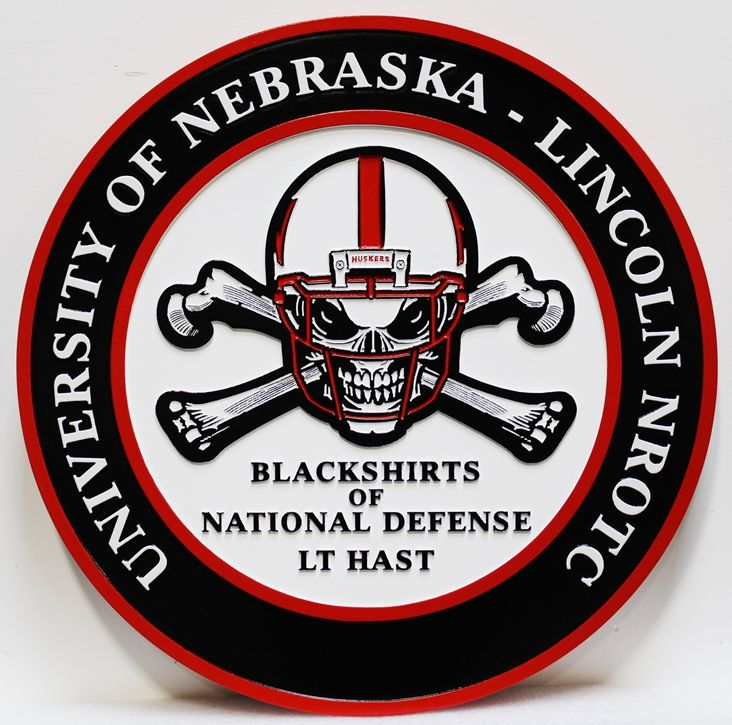 WP-1260 - Carved Plaque of the  University of Nebraska NROTC  Logo
