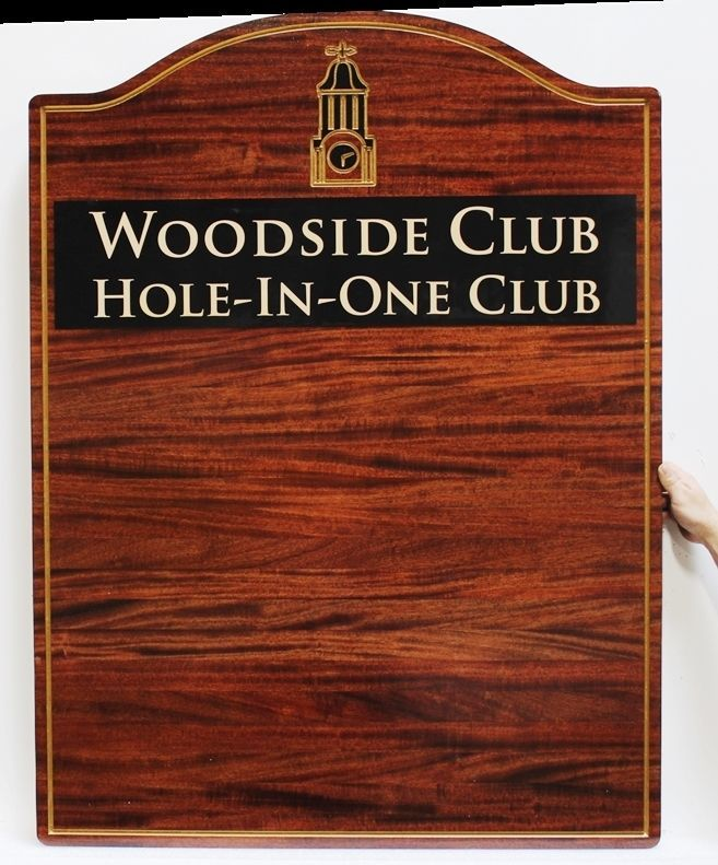 WP-3022 - Carved and Engraved Mahogany Wood Perpetual Plaque for the Hole-in-One Club of theWoodside Golf Club