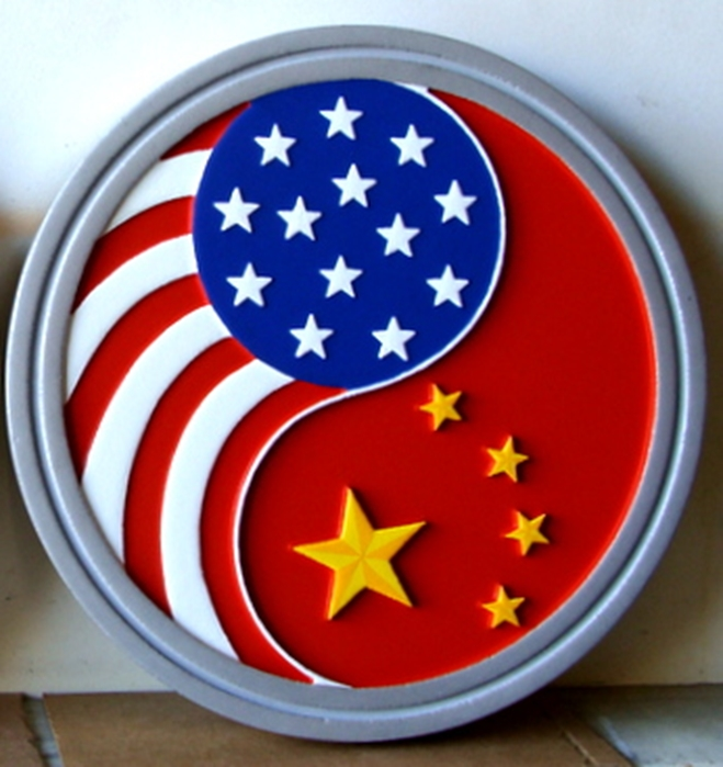 AP-3820- Carved Plaque of the Emblem of the US Consulate in Guangzhou, China, Artist Painted