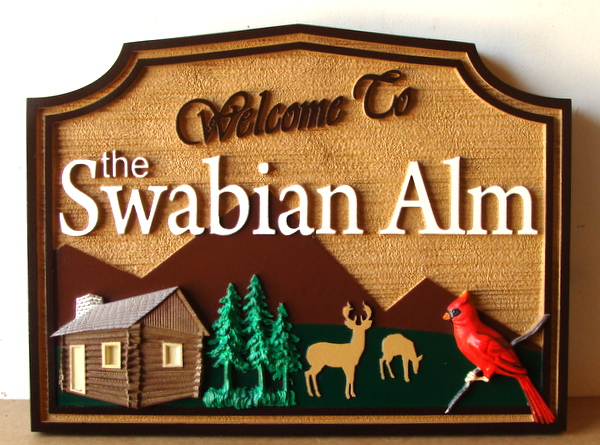 M22206 - 3D Carved Cabin Sign with Trees, Deer and Bird