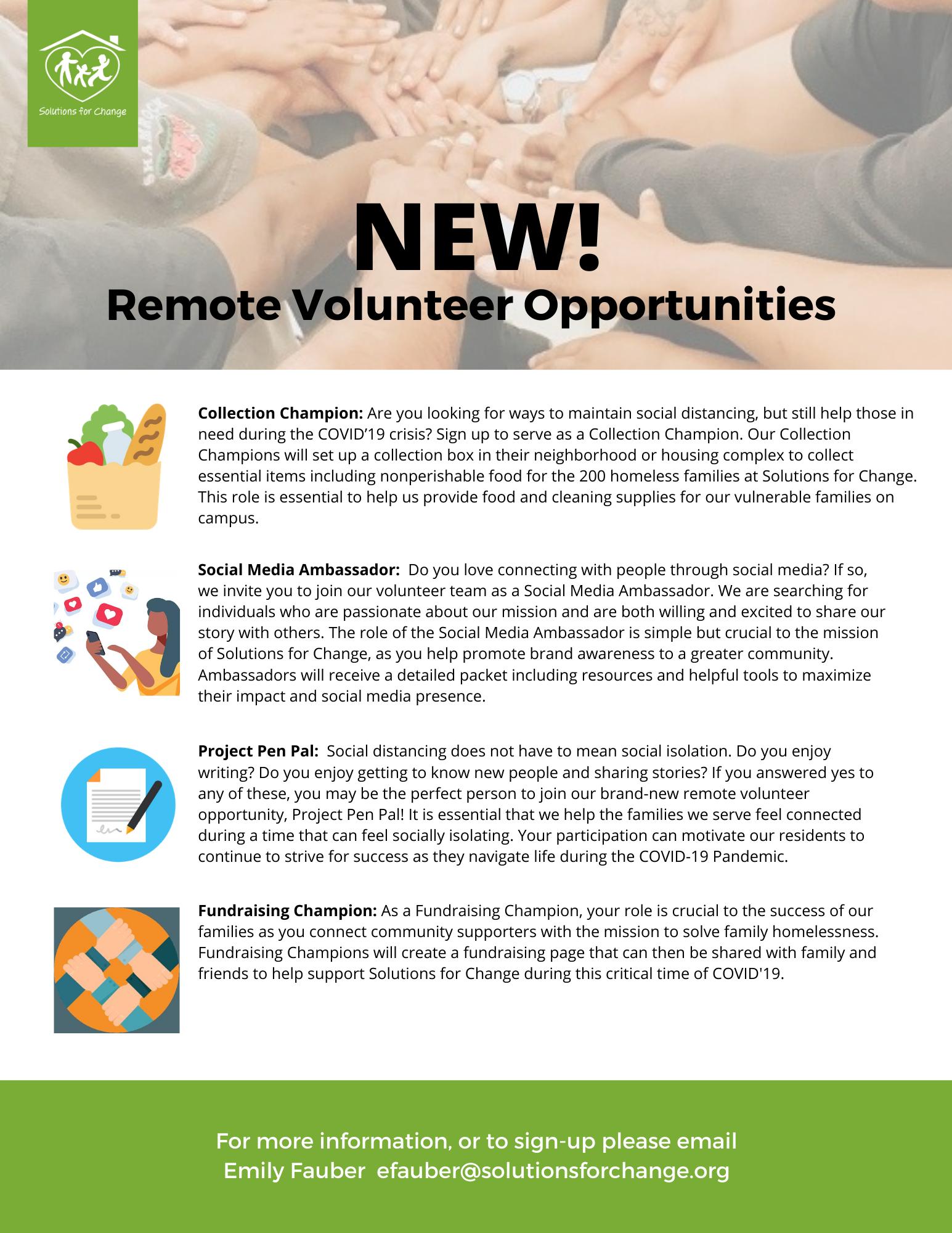 New! Remote Volunteer Opportunities