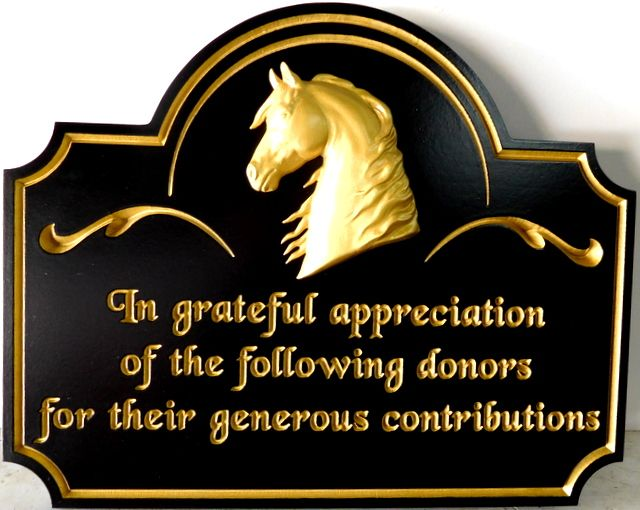 P25041 - Carved HDU Sign Showing Appreciation to Donors for Providing Horseback Riding for the Physically Disabled, Carved Horse Head