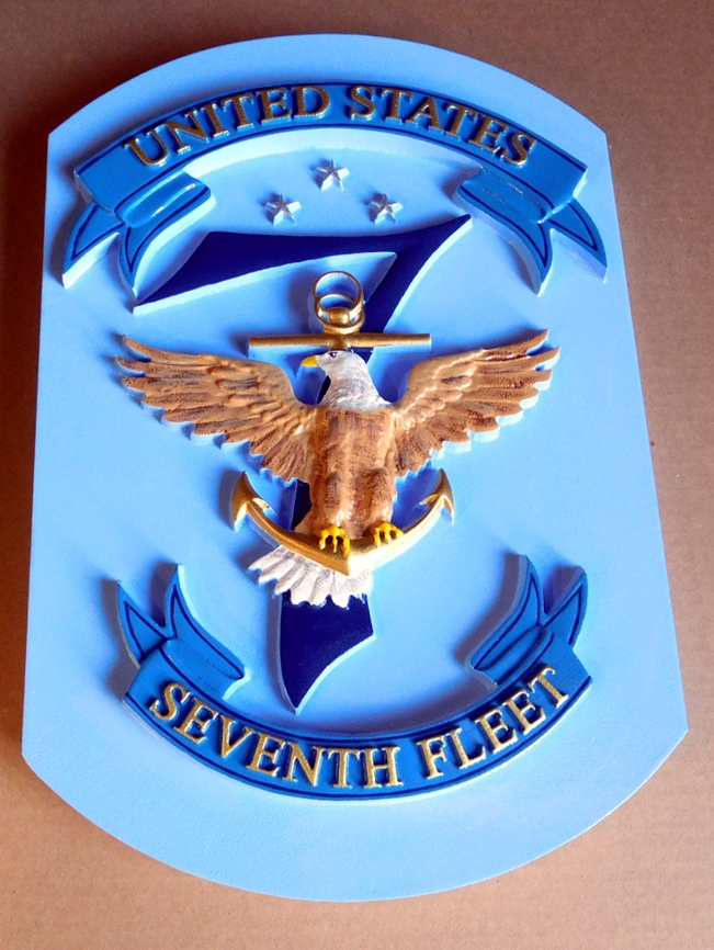 JP-1230 Carved Plaque of the Seal/Crest of the US Navy's Seventh Fleet, Artist Painted