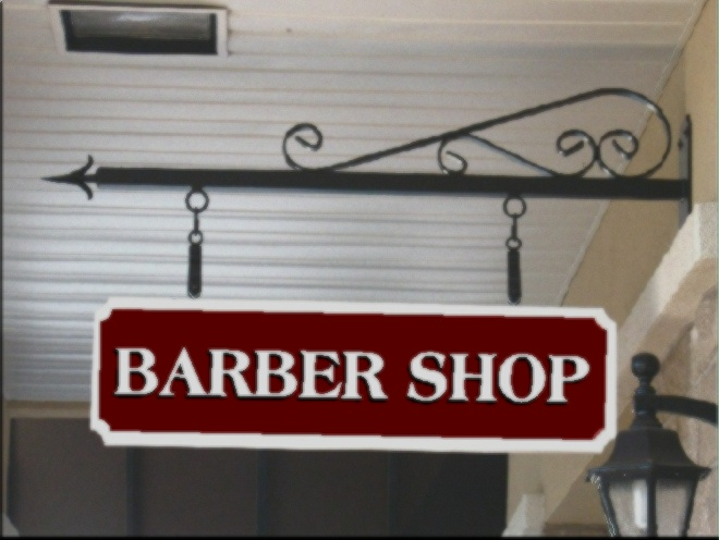SA28439 - Sandblasted Barber Shop Sign.