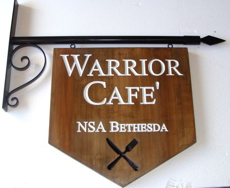 Q25609 - Engraved Cedar Wood Cafe Sign Hanging from Wrought Iron Scroll Bracket, NSA Warrior Cafe
