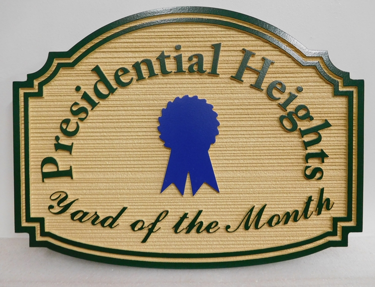 "KA20957- ""Presidential Heights"" HOA Yard-of-the-Month Sign, featuring a Blue Ribbon"