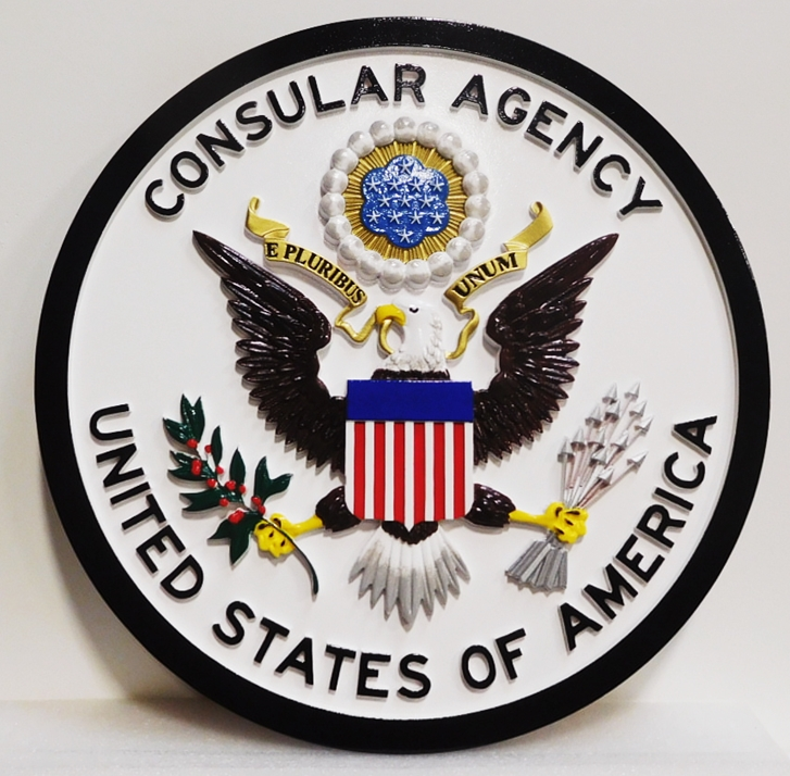 AP-3835 - Carved Plaque of the Seal of the US Consular Agency, Artist-Painted