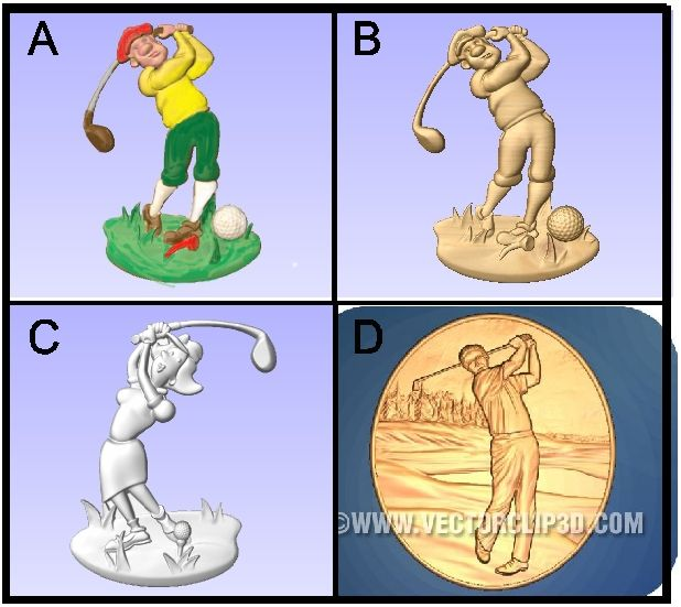 E14910 - 3D Carved Golfers for Golf Course Signs
