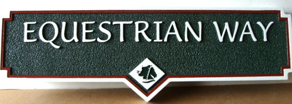 H17036- Carved Street Name Sign, Equestrian Way, with Engraved  Horse Head Logo