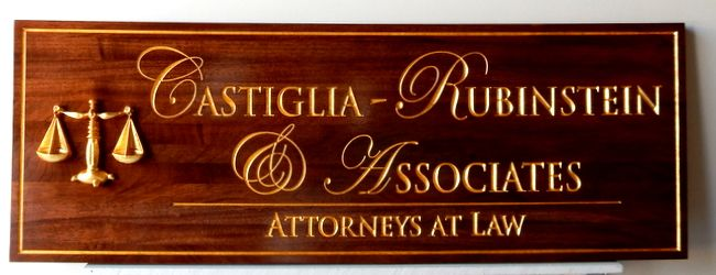 A10000 - Engraved Wood Attorney Sign, with 24K Gold-Leaf Gilding and 3-D Scales of Justice