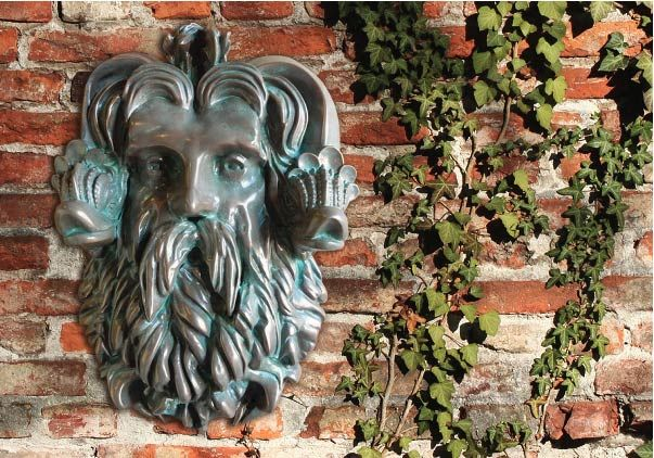 M2058 - Carved and Sculptured Head of Neptune (Poseidon), Bronze-Coated with Verde Patina, for Garden (Gallery 16A)