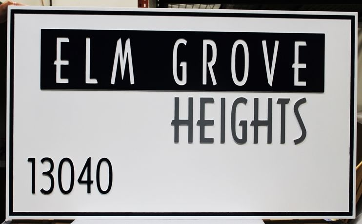"K20404 - Carved and Engraved High-Density-Urethane (HDU) Entrance Sign for the ""Elm Grove Heights"" Residential Community"
