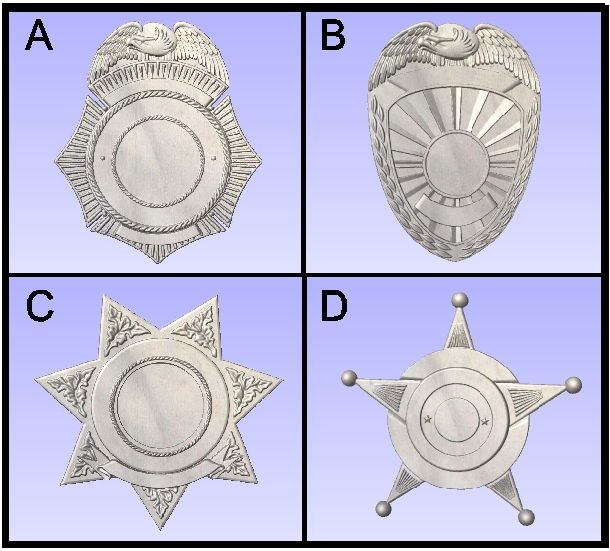 F15830 - Carved Police & Sheriffs Badges