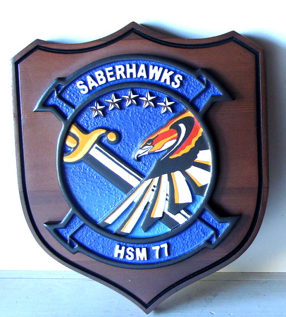 JP-1670 - Carved  Shield Plaque of Crest for Navy Saberhawks HSM 77,   Stained Cedar Wood and Artist Painted