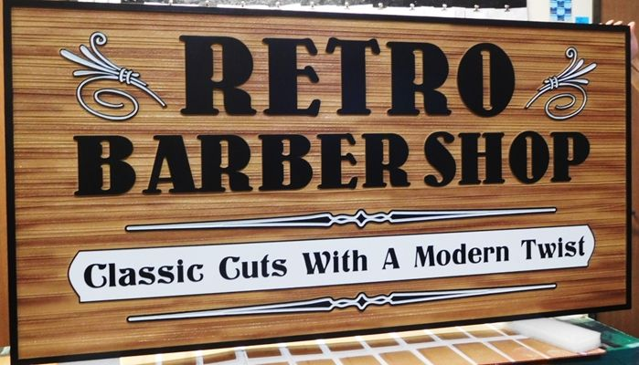 """S28037- Large Carved and Sandblasted Wood Grain HDU Commercial Sign made for the """"Retro Barber Shop"""" , 2.5-D Artist-Painted"""