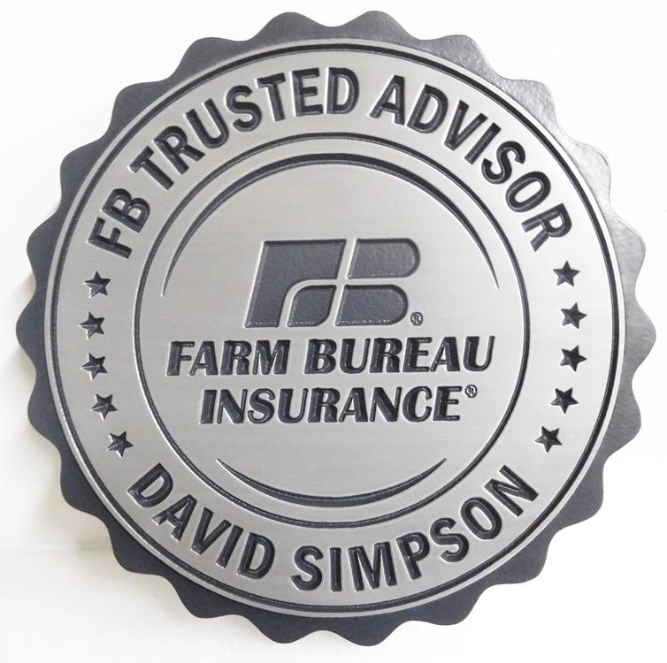 C12515 - Engraved Round Farm Bureau Insurance Plaque, Aluminum-Plated