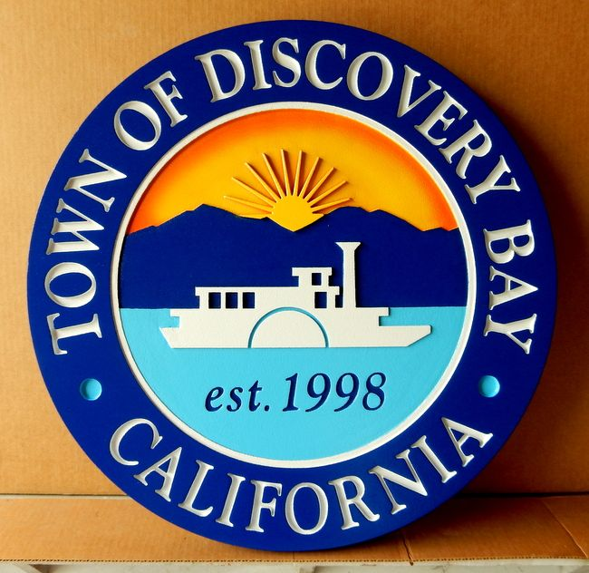 DP-1480 - Carved Plaque of the Seal of the Town of Discovery Bay, California,  Artist Painted