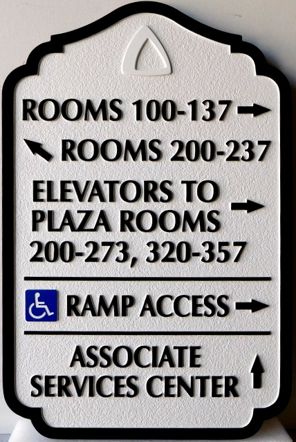 T29412 - Carved and Sandblasted  HDU Wayfinding Resort Hotel  Signs