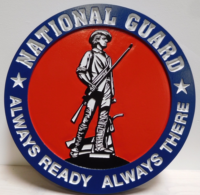IP-1732 - Carved Plaque of the Seal of Department of Defense National Guard Bureau, 2.5-D Artist-Painted