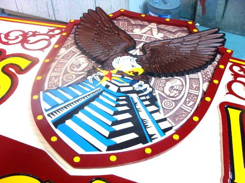 S27997 - Closeup of Sign S28003 with Eagle, Temple and Shield