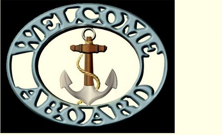 L22014 - Carved Wood Welcome Aboard Plaque for Boat or Nautical Home