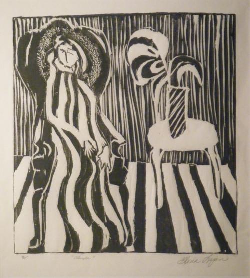 Abuela,, woodcut,