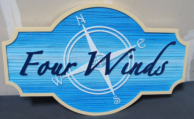 """L21746 - Four Winds Seashore Vacation Home """"Four Winds""""  Sign"""
