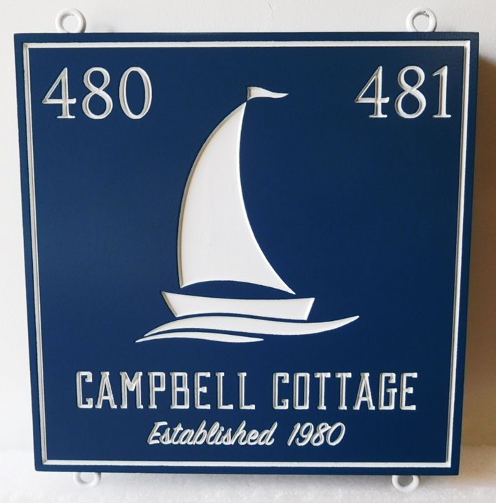 "L21317 - Engraved Coastal Residence Address and Name Sign , ""Campbell Cottage"", features  a Stylized Sailboat as Art"