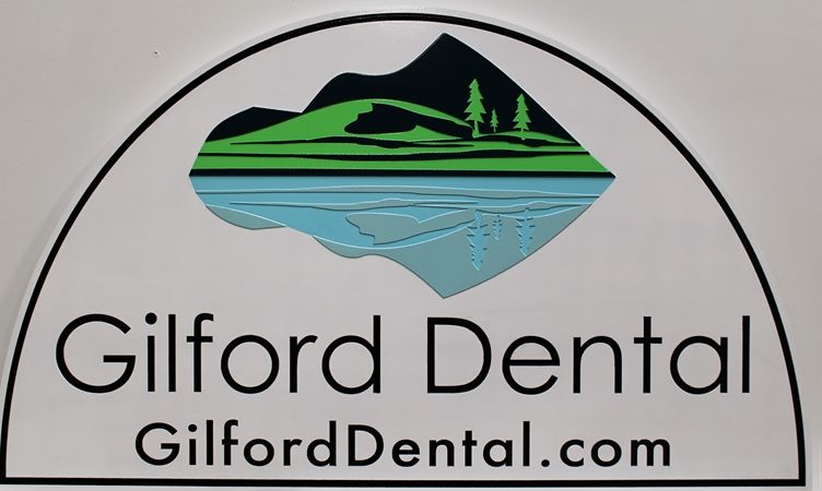 BA11629 - Carved HDU Entrance Sign for Gilford Dental , 2.5-D, Arist-Painted with Mountain, Trees and Lake as Artwork
