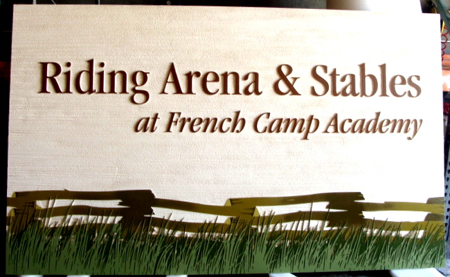 "P25152 - Riding Arena and Stables Sign, ""French Camp Academy"" with Scene of Split Rail Fence"