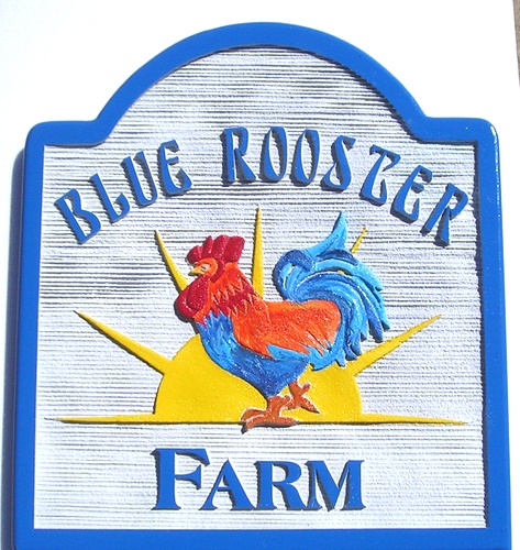 O24456 - Blue Rooster Carved  Farm Sign