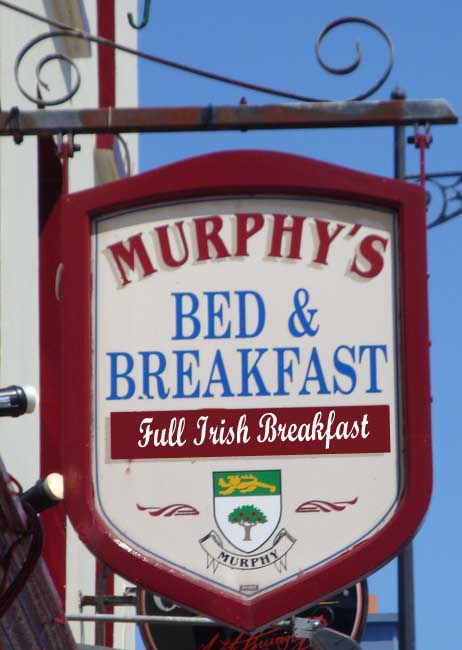 "T29115 -Carved Wood Sign for  ""Murphy's""  Irish Bed & Breakfast (B&B)"