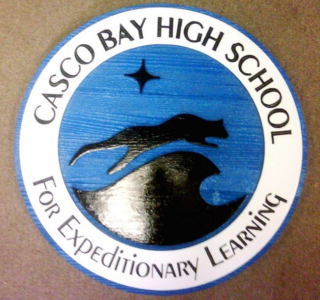 FA15613 - Carved and Sandblasted Wood Wall Plaque for Casco bay High School