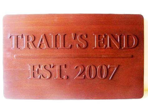 "M22018 - Stained Redwood Name Sign for Cabin & Property Name  ""Trails End"""
