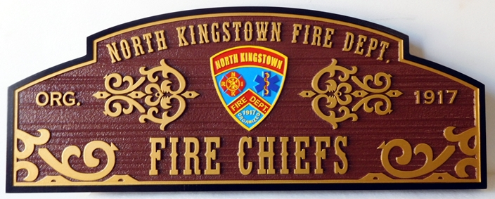 QP-3030 - Plaque for the Fire Chiefs of the North Kingstown Fire Department, Artist Painted