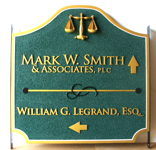 A10020 – Carved and Sandblasted Law Offices  Sign, with Directional Arrows