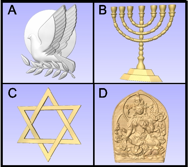 D13405 - Carved Wood Dove of Peace , Menorah, and Star of David
