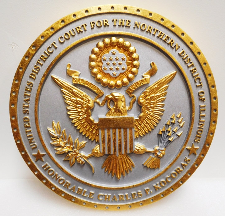 FP-1215 - Carved Plaque of the Seal of the US District Court of the Northern District of Illinois, 3-D Gold-Leaf Gilded