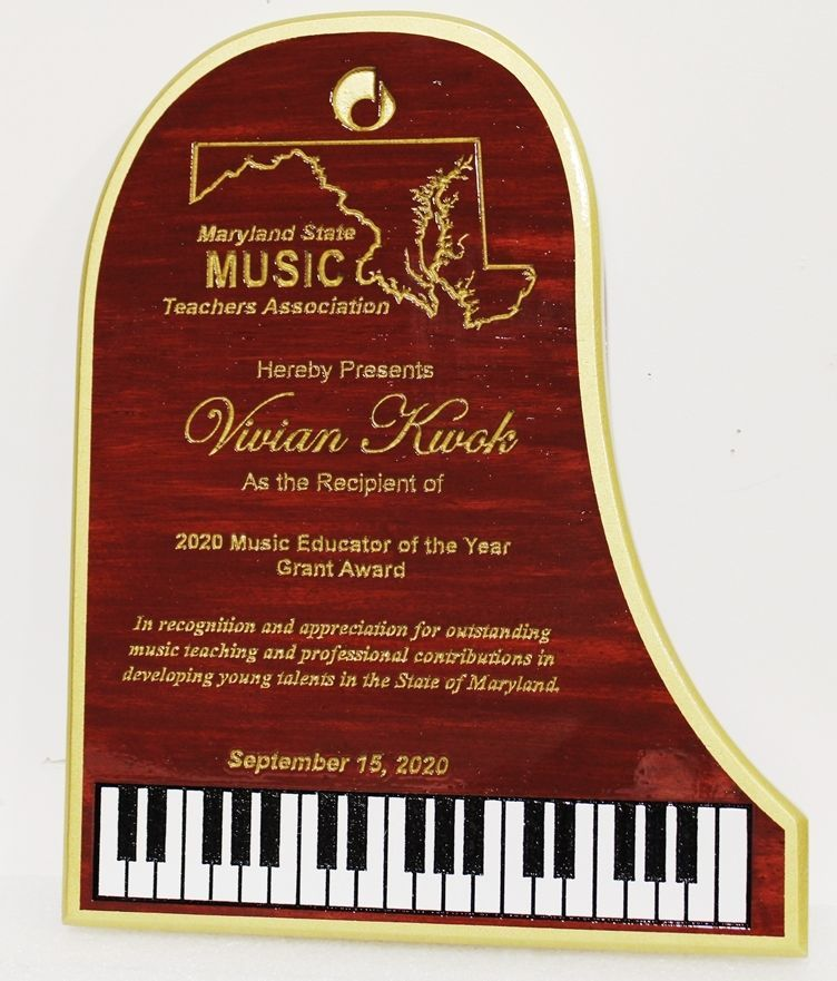 UP-3193 - Carved Mahogany Piano Plaque for the Maryland State Teacher's Association Award for the 2020 Music Educator of the Year
