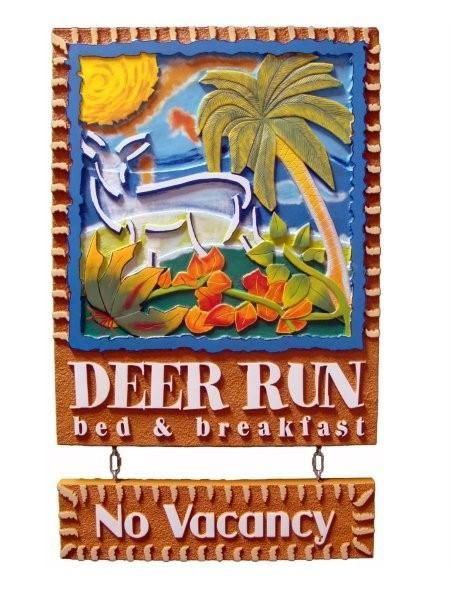 "T29080 -  Beautiful,Stylized Multi-level 2.5-D  HDU sign for the ""Deer Run"" Bed & Breakfast (B& B)."