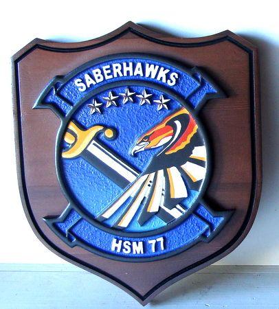 V31292 - Saberhawks HS 77 Navy Carved Wood Wall Plaque