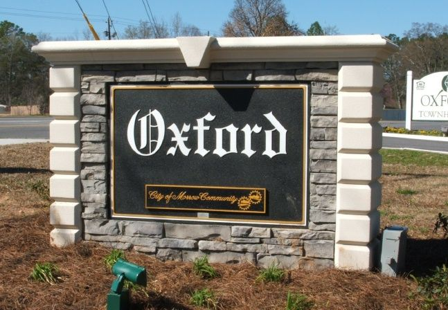 "K20053 - ""Oxford"" Residential Community Entrance Carved Sign with Stone Facade"