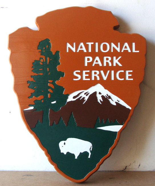 "G16068 - Carved Wood U.S. National Park Service Emblem, the ""Arrow"""